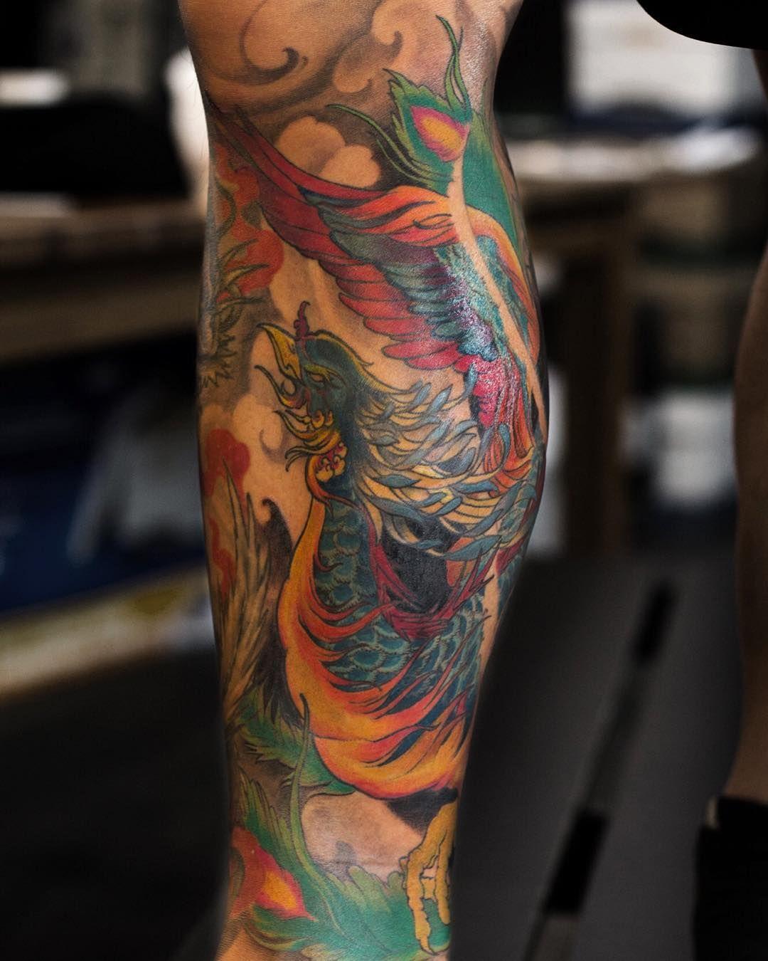 Phoenix leg 12 sleeve tattoo artists color tattoo tattoos