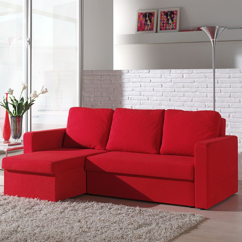 canap d 39 angle convertible rouge en tissu avec coffre axell salon pinterest sofa living. Black Bedroom Furniture Sets. Home Design Ideas