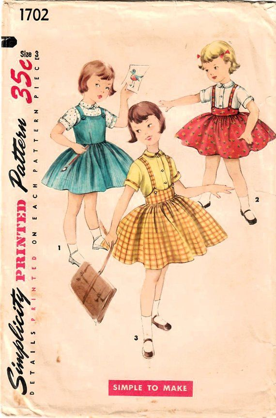 35d2e3386 1950s Simplicity 1702 Vintage Sewing Pattern Girls Suspender Skirt ...