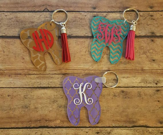 Personalized Acrylic Tooth Key Chain, monogrammed, dental hygiene ...