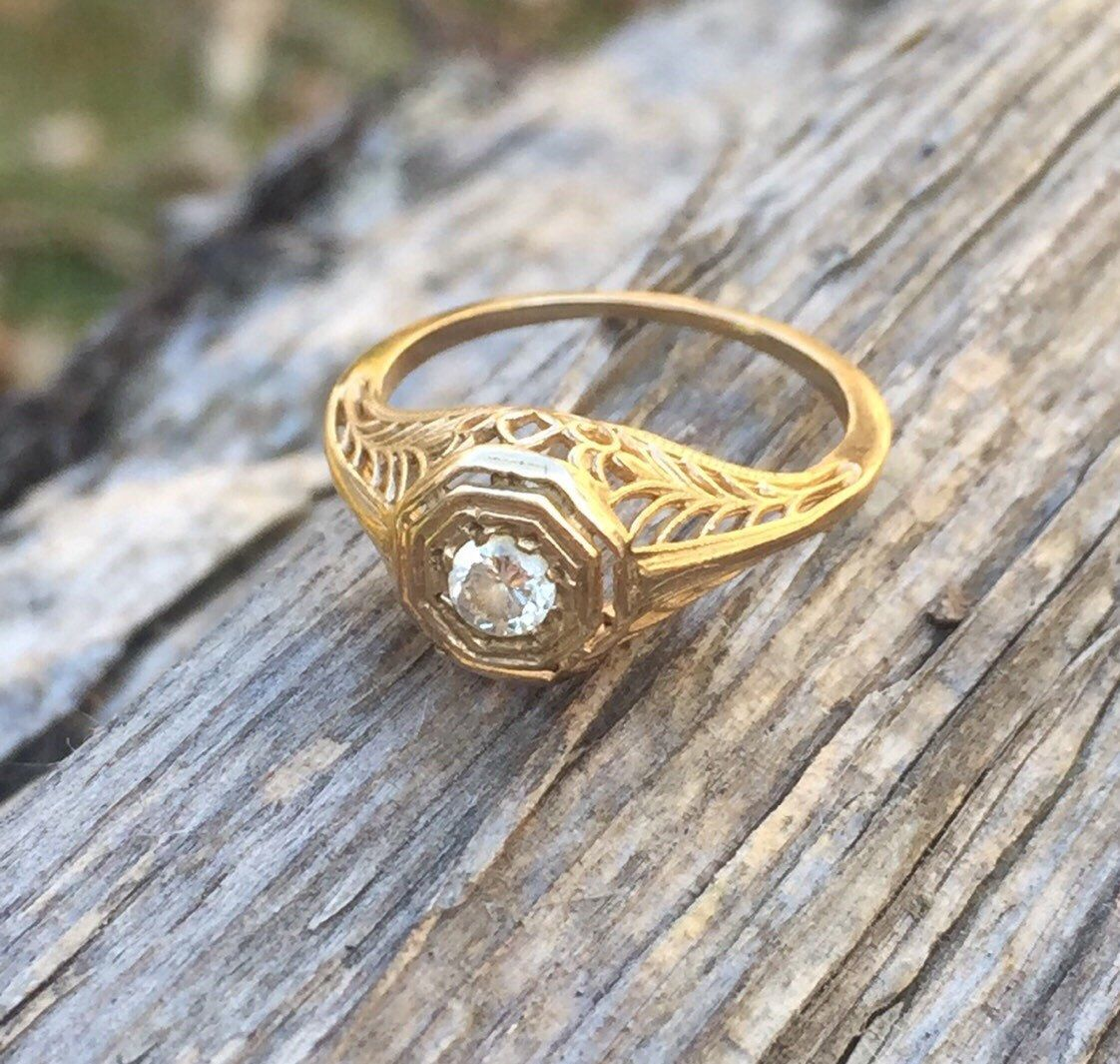 Art Deco 14K Yellow Gold Filigree & Diamond Engagement Ring size 5 1/5 by AntiqueJewelryBox on Etsy https://www.etsy.com/listing/217055658/art-deco-14k-yellow-gold-filigree