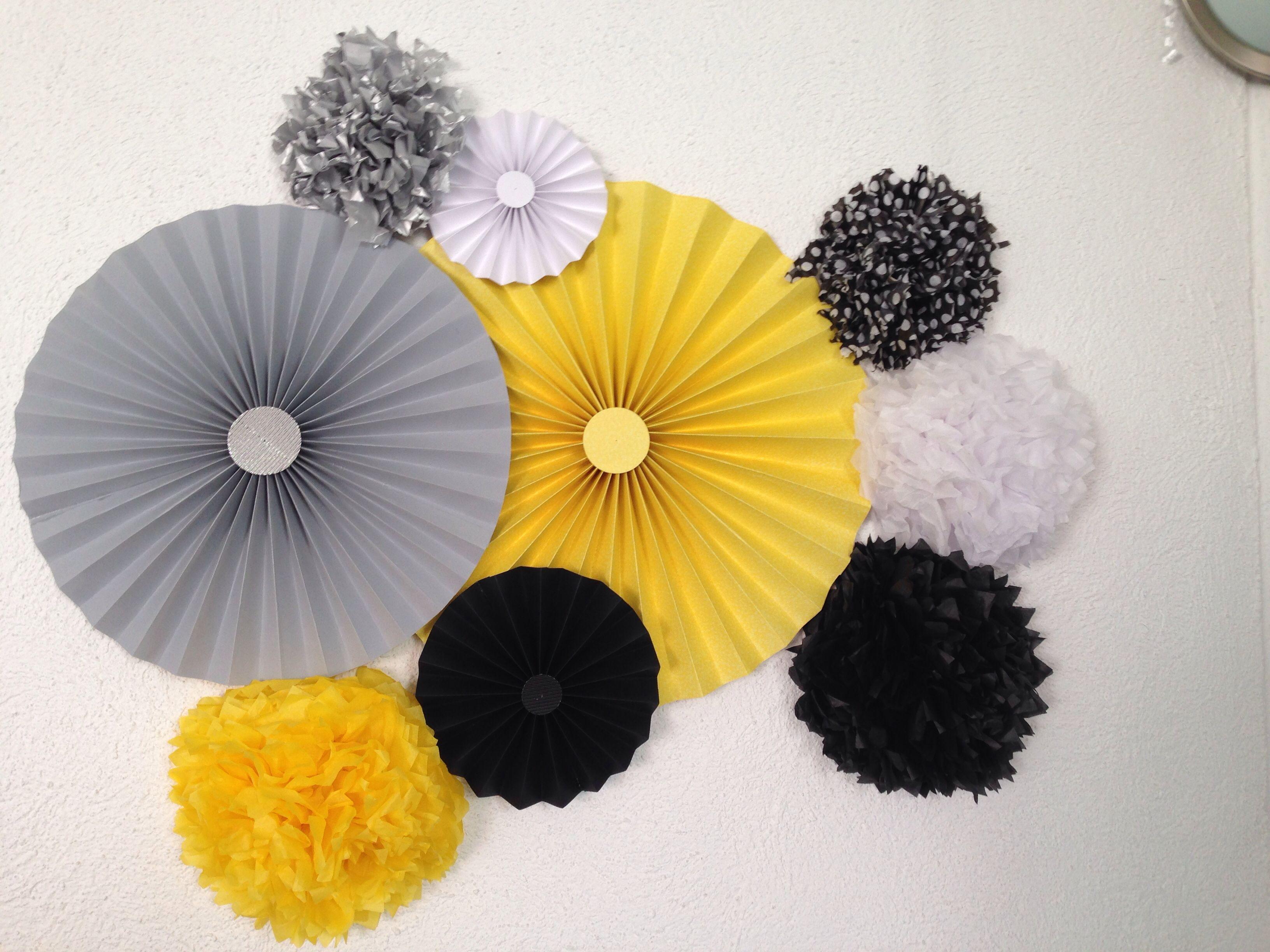 Party amarillo blanco y negro decoraci n party for Idea deco en blanco y negro