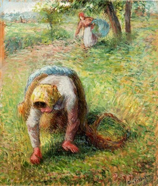 Peasants+Gathering+Grass,+1883+-+Camille+Pissarro