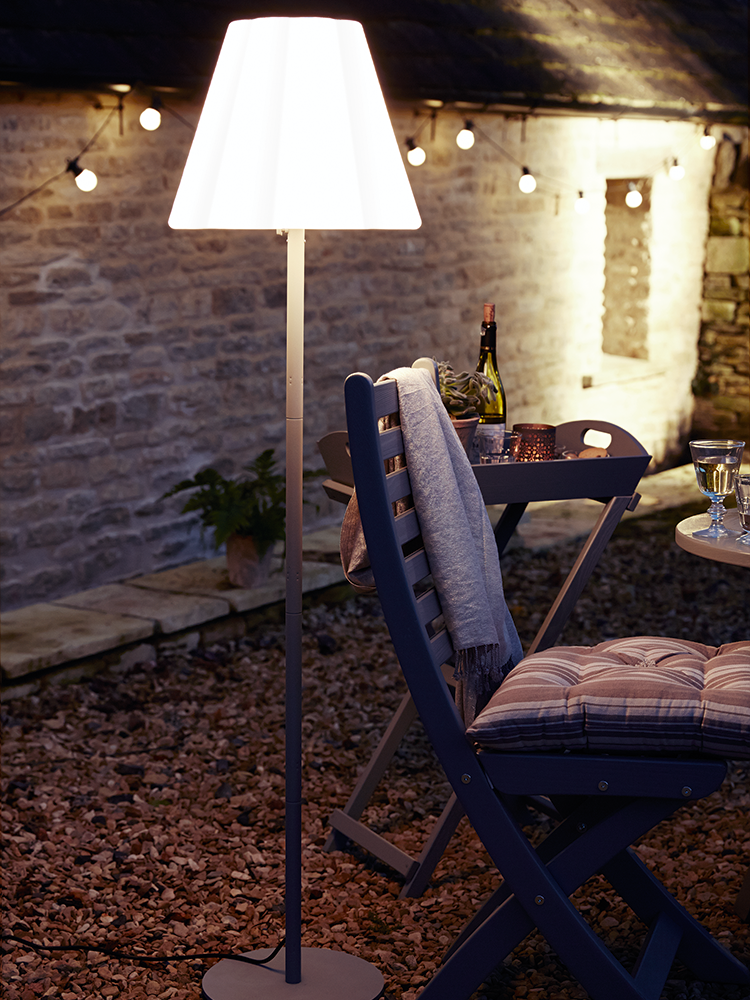 Good Set The Mood To Your Outdoor Dining With Our Cool And Clever Outdoor Lamp.  Our Elsa Floor Lamp Has A Weather Resistant White Opaque Shade With Smooth  ...