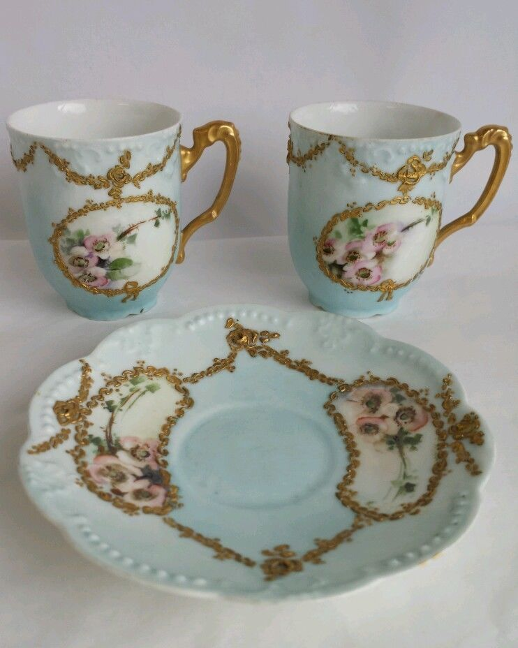 Limoges France Klingenberg AK D Blue Heavy Gold Porcelain Tea Cups Saucer  1890s