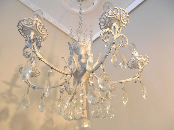 TORINO 1950\'s vintage, white shabby chic chandelier from ...