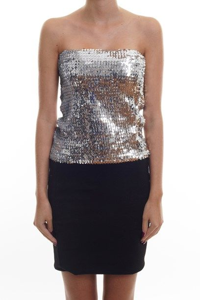 913f9e2adc ILYA TOP Sequin tube top in silver sequin and black.