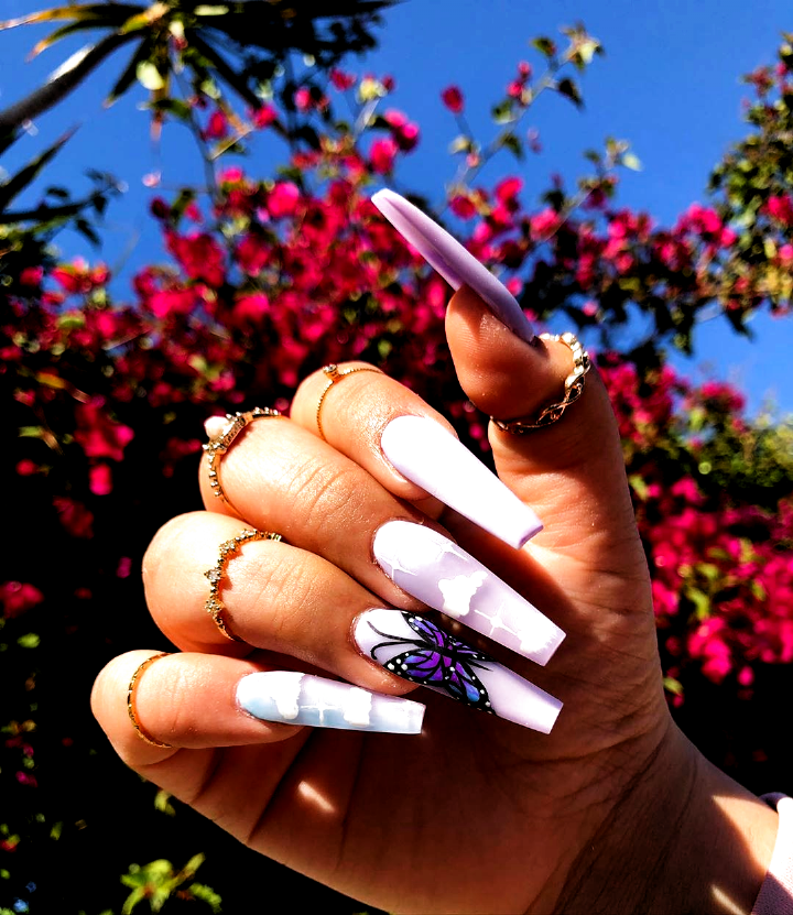 Brenda On Instagram Recreated Set Inspired By Nailedbycleo All Colored Acrylic Hand Draw In 2020 Purple Acrylic Nails Acrylic Nails Long Acrylic Nails