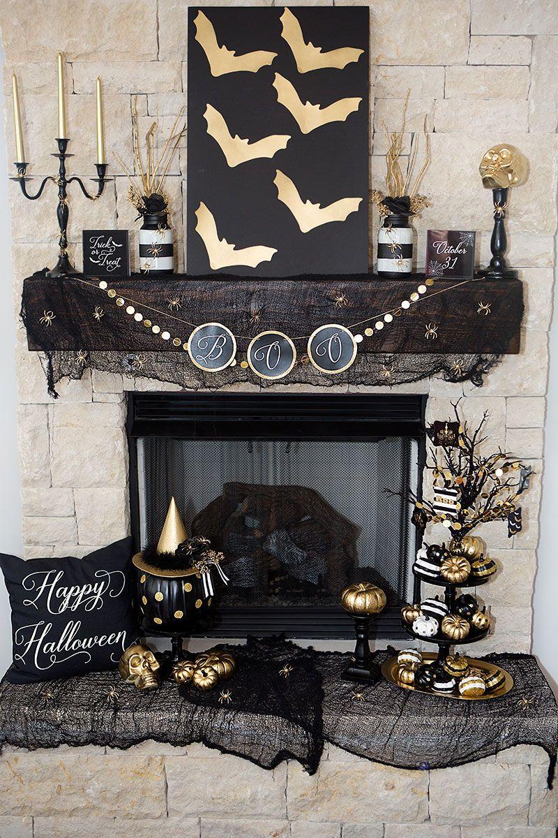 Black And Gold Halloween Decor Modern Halloween Decor Halloween