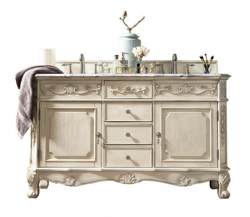 60 Inch Double Sink Bathroom Vanity Vintage Vanilla Finish Marble