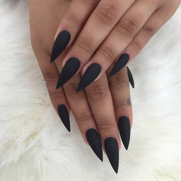 25 Edgy Black Nail Designs | Matte stiletto nails, Long black and ...