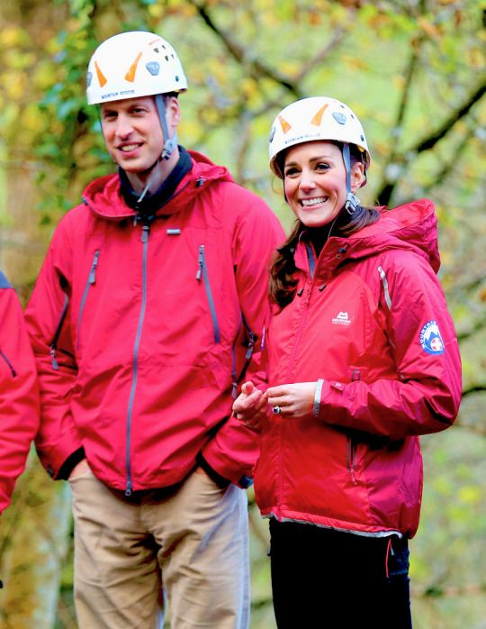 William and Kate watch children on a zip-wire as they visit the Towers Residential Outdoor Education Centre on November 20, 2015
