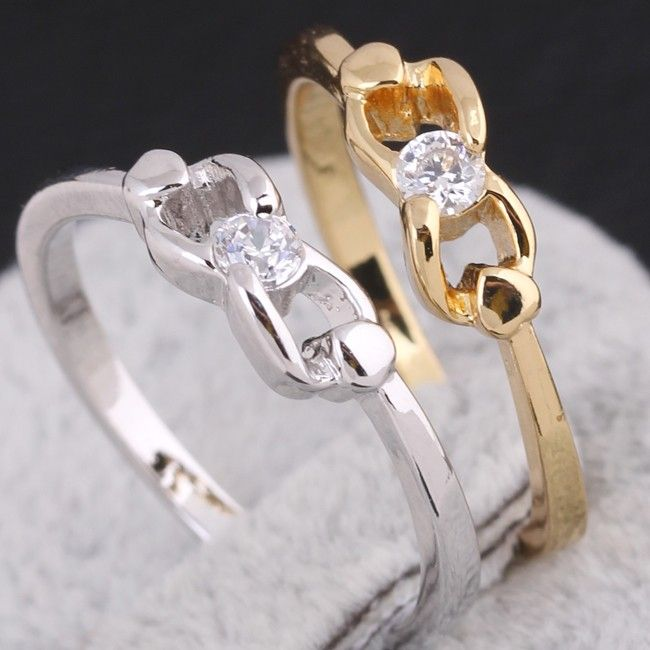 Fashion 18K Gold Plated Copper Bowknot Shape Ring Inlay Zircon Finger Ring Two Colors