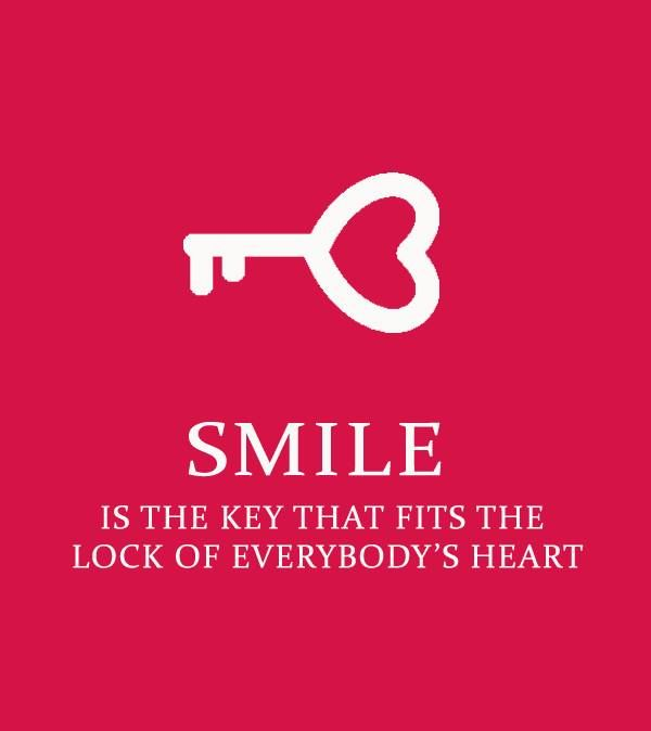 Quote Everyone Should Smile: Smile Is The Key That Fits The Lock Of Everyone's Heart