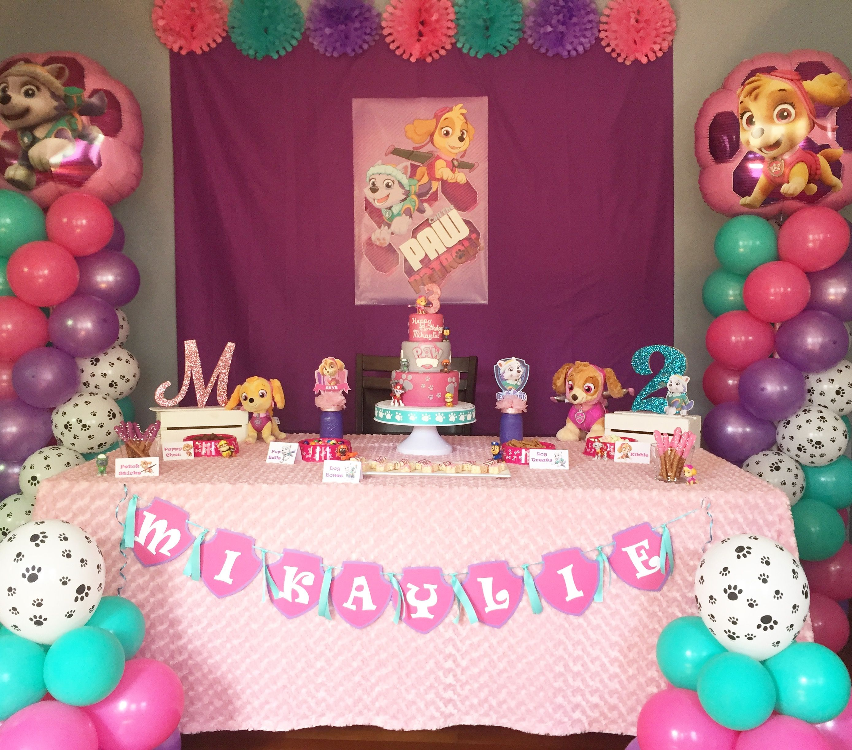 Paw patrol skye party girl party kr kreations - Skye patrulla canina cumpleanos ...