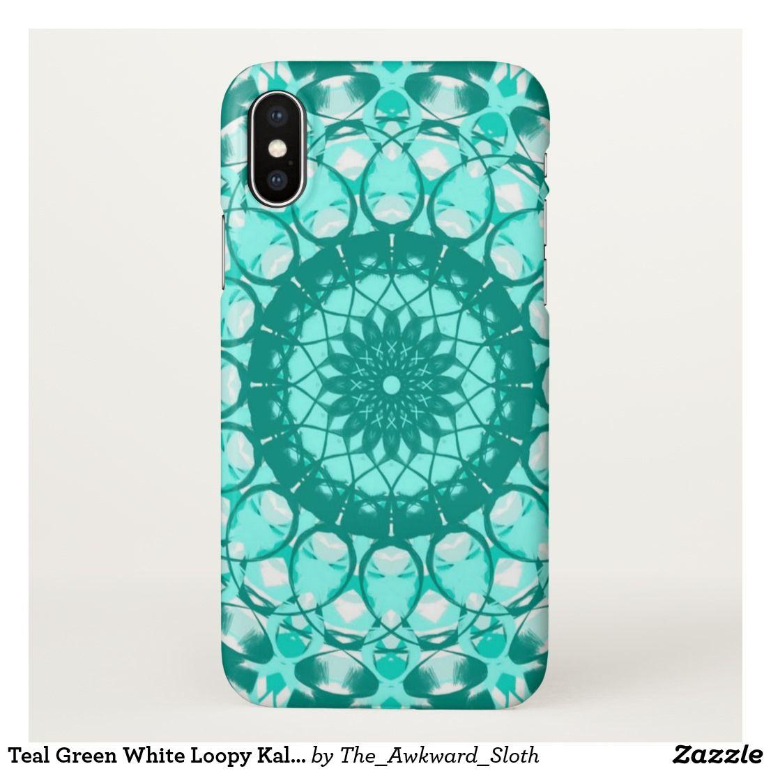 Teal Green White Loopy Kaleidoscope Iphone Case Zazzle