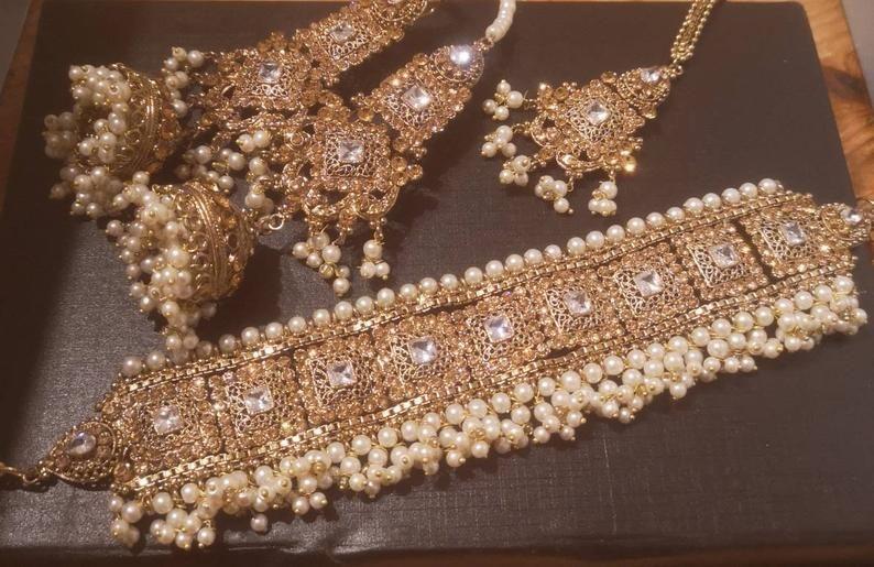 New Indian Pakistani Bridal Antique Choker Earrings Tikka Manjoos Jewellery Set
