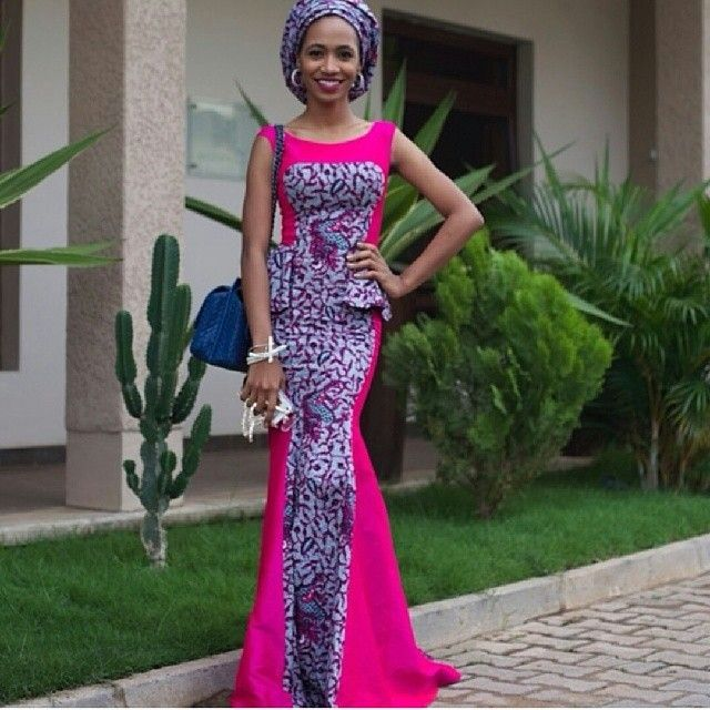 Pink Material And Ankara Long Gown Style Combinations African