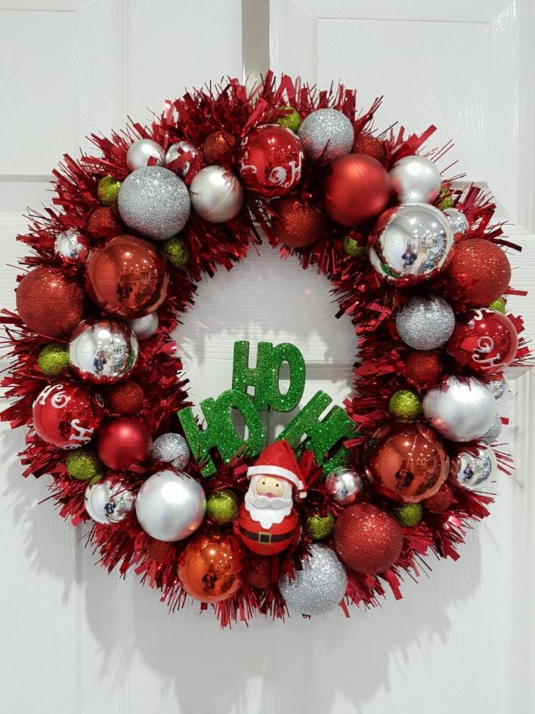 Christmas Wreath Tinsel Wreath Red Wreath Red And Green Wreath
