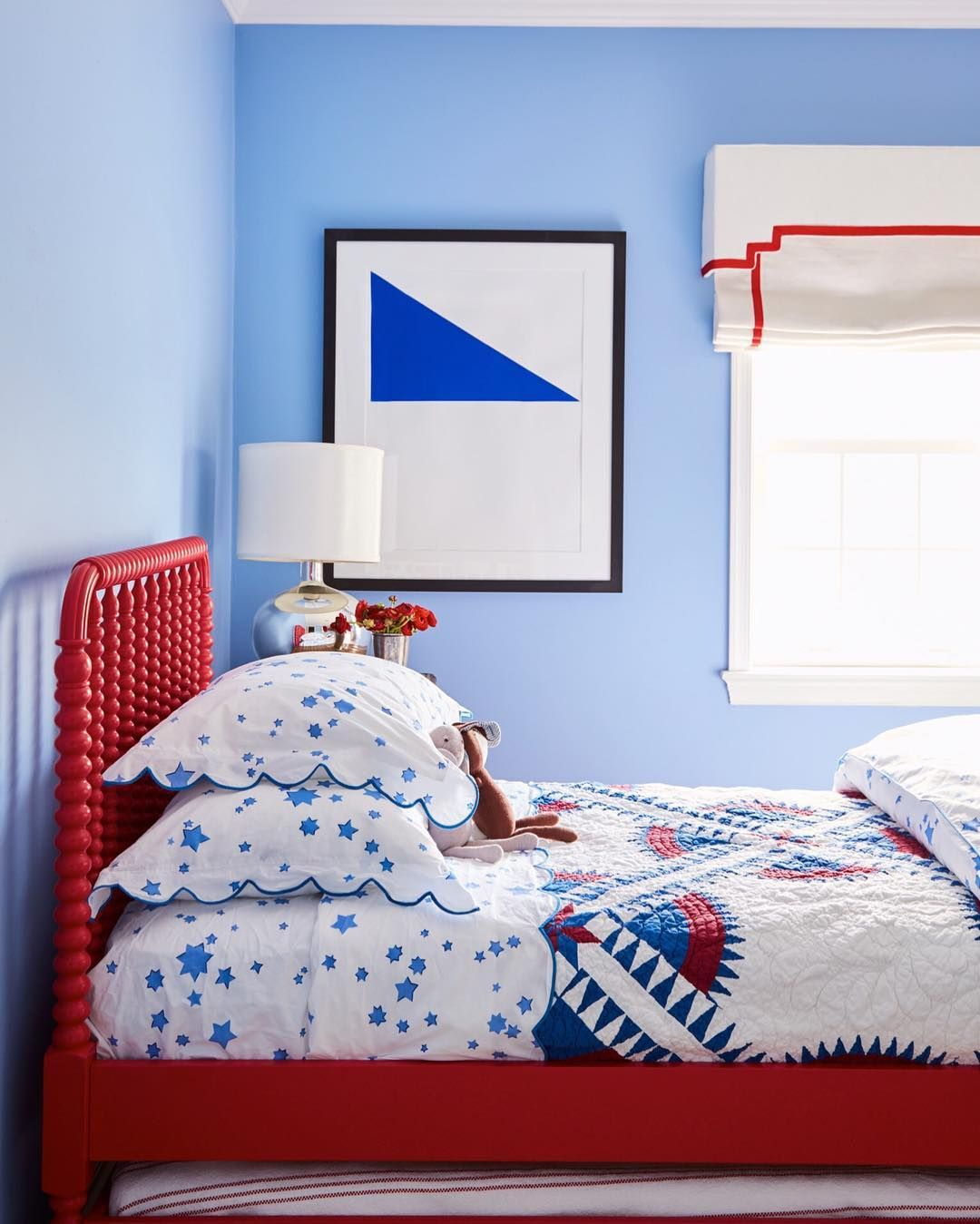 Boys Room Red White And Blue White Roman Shade With Red Trim