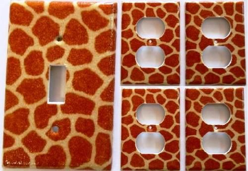 Giraffe Animal Print Light Switch/Outlet Plate Cover Set 1&4 Kids ...