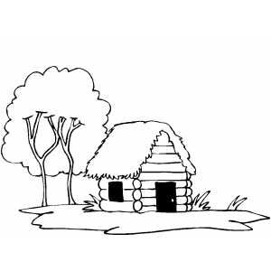 Log Cabin Printable Coloring Page Free To Download And Print