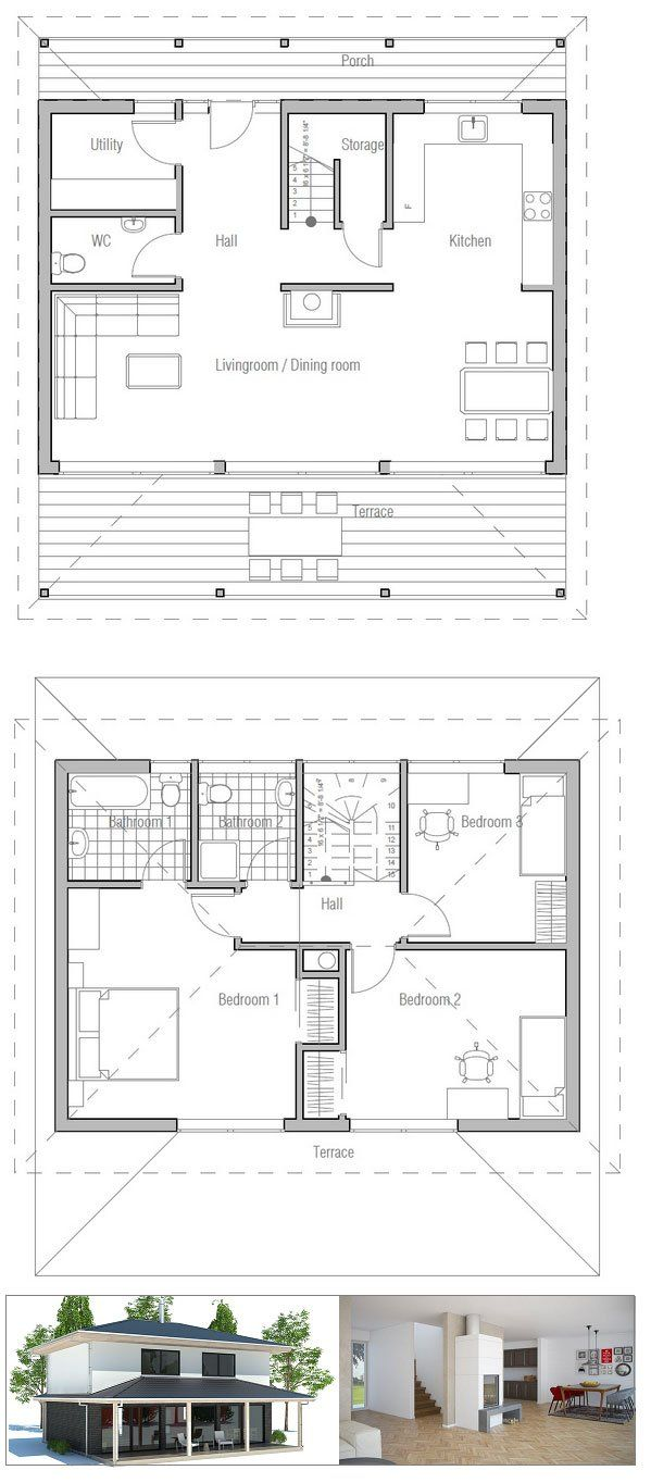 Small House Ch187 House Plans Floor Plans Modern Style House Plans