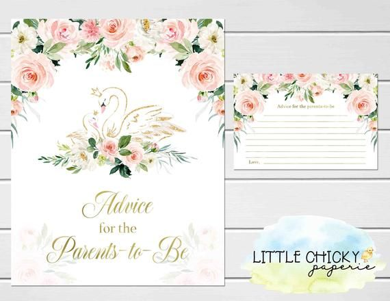 Baby Shower Advice Cards, Swan Baby Shower Advice Cards and Sign for the Parents to be, Blush Pink and Gold, Instant Download