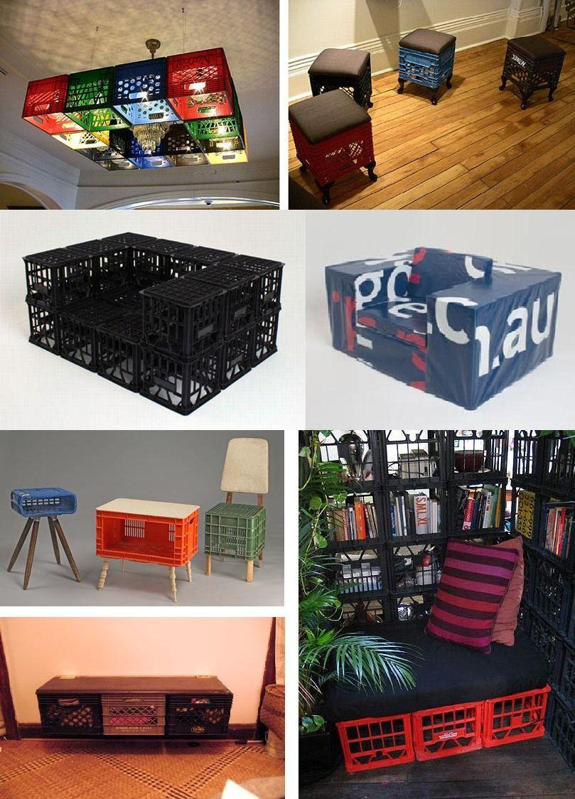 Reciclaje de cajas de bebidas en muebles | seats | Pinterest ...