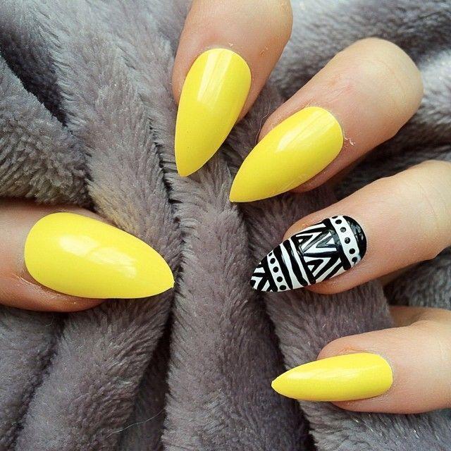 Village Nail Spa Nail Design Yellow And Black