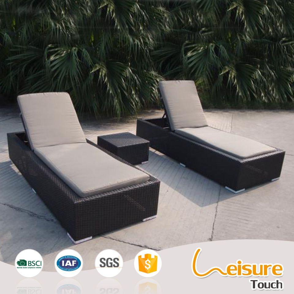 Outdoor beach swimming pool rattan sunbed folding cane sun lounger hotel patio furniture