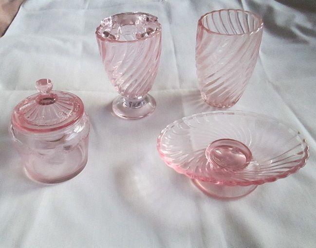 Simply Shabby Chic Pink Swirled Gl Bathroom Set Soap Dish Tumbler Etc Simplyshabbychic