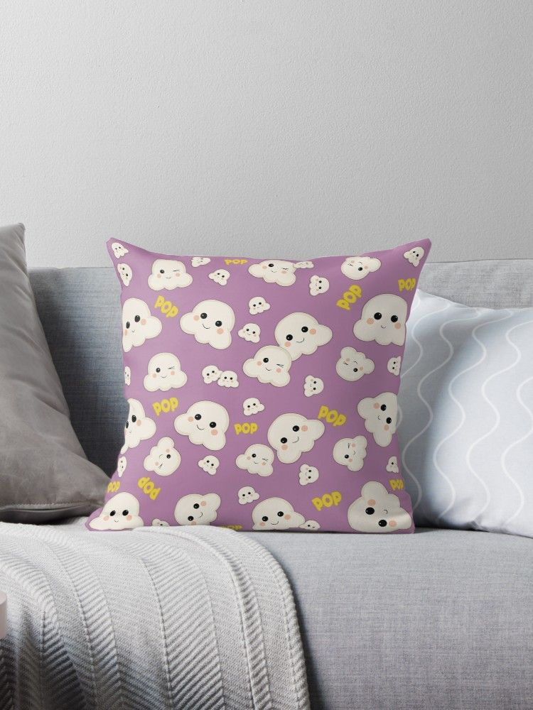 Cute kawaii popcorn pattern throw pillow with images
