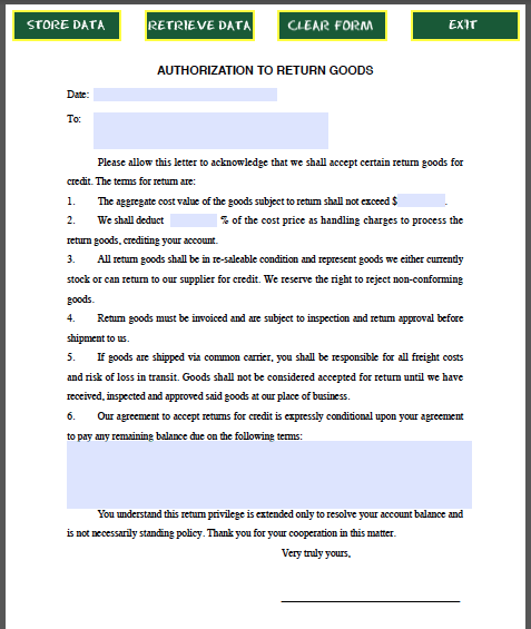 Return Goods Authorization Form Template  Forms