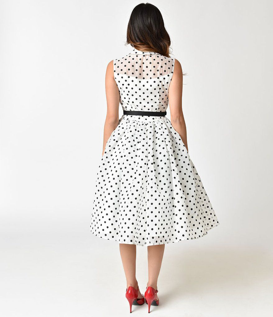 Unique Vintage 1950s Style White Black Dotted Organza Georgia Swing Dress Cocktail Dress Vintage Dresses Inspired Dress [ 1023 x 879 Pixel ]
