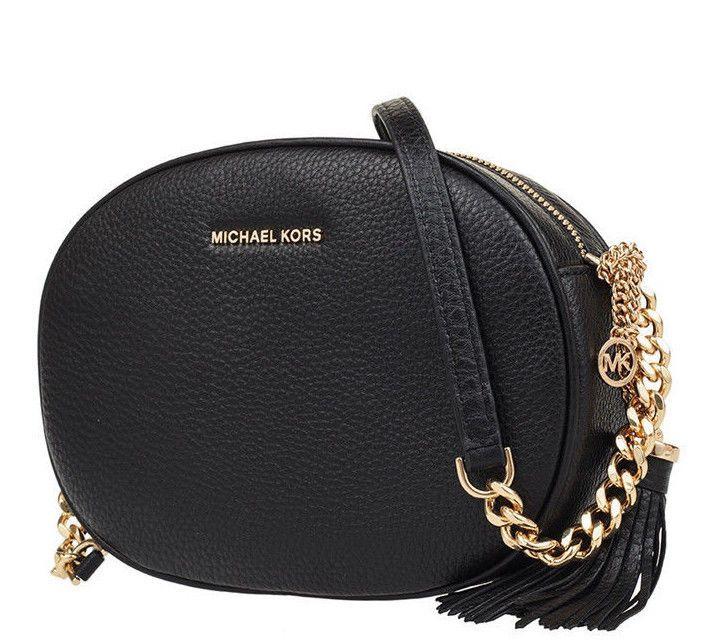 285696fa0a6c Michael Kors Ginny Medium Messenger Black Gold Pebbled Leather 190049436509