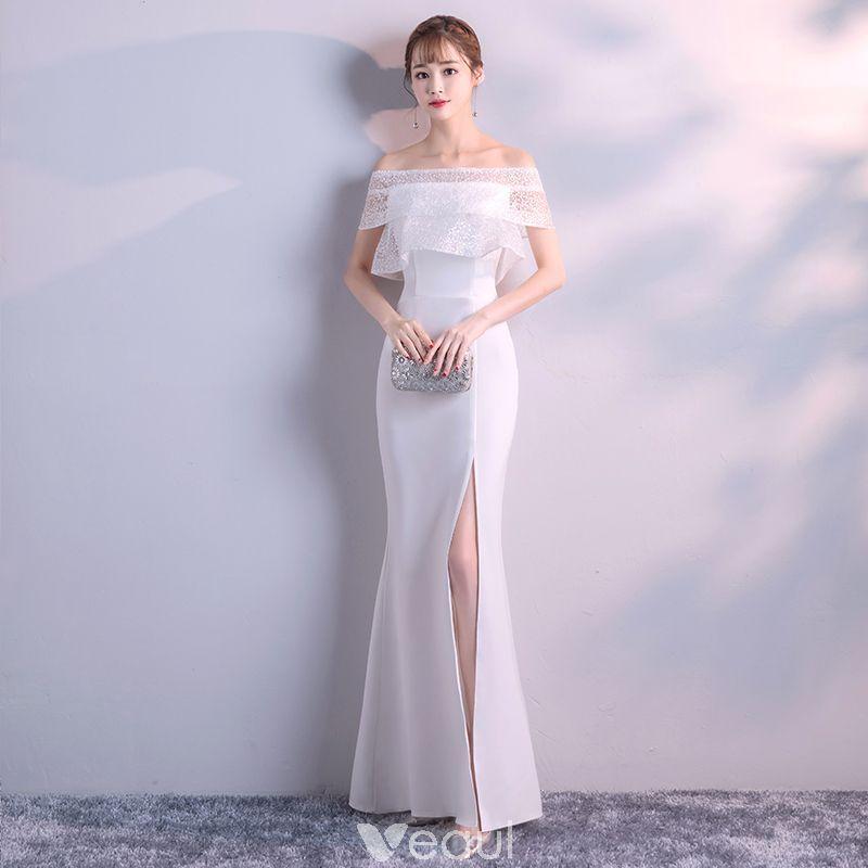 Modest / Simple Ivory Evening Dresses 2018 Trumpet