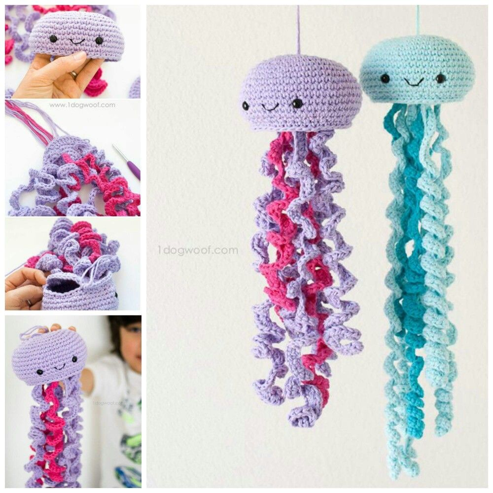 HOW TO CROCHET A JELLY FISH...this is the cutest thing ever!!! Also looks so easy to make...love it!  Pattern...http://www.1dogwoof.com/2016/05/crochet-jellyfish.html