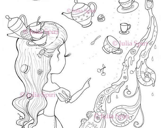 Coloring Page, Digital stamp, Digi, Tea, Cake, Cup, Teapot, Girl, Fantasy, Whimsical, Crafting, Cardmaking.  The Princess of Tea