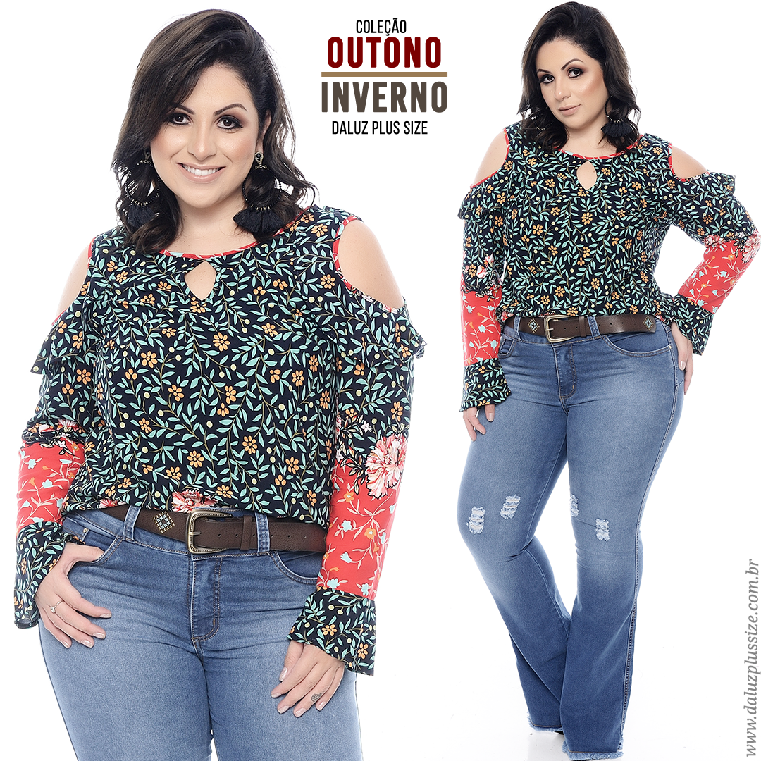 6a86641c4 Blusa Plus Size - Coleção Outono Inverno 2018 - www.daluzplussize.com.br