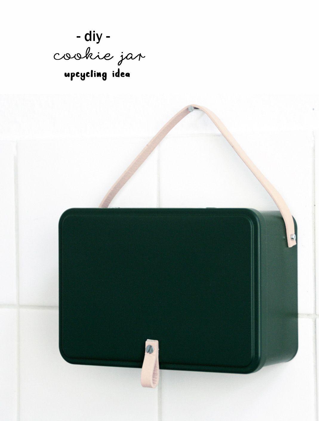 Diy Idee Keksdosen Upcycling Mit Leder Und Gruner Farbe