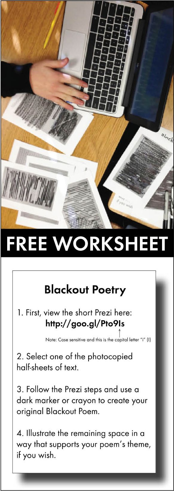 free blackout poetry directions worksheet for high school and middle school classes freelesson. Black Bedroom Furniture Sets. Home Design Ideas