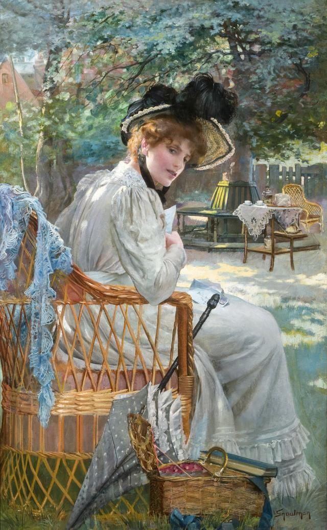 A Summer Afternoon in The Garden. Isaac Snowman (English-Israeli, 1874-1950).