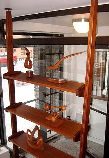 Tension pole room dividing shelves from Montreal Mid Century Room