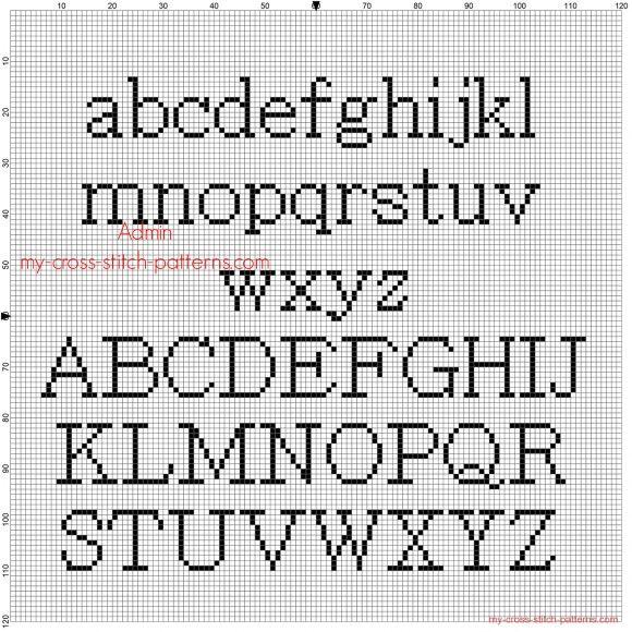 Cross stitch alphabet Batang all letters free pattern