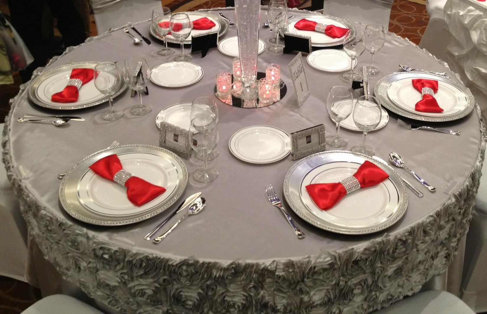 Silver Satin Table Cloth Rosette Table Valance Satin