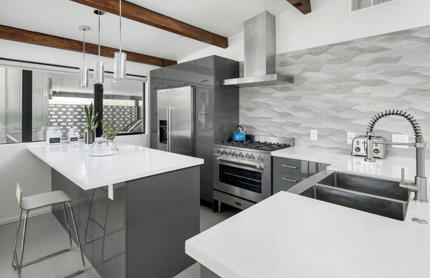 Contemporary Kitchen With Gray Cabinets White Countertops Metallic Backsplash And Exposed W Gray And White Kitchen White Modern Kitchen Grey Kitchen Cabinets