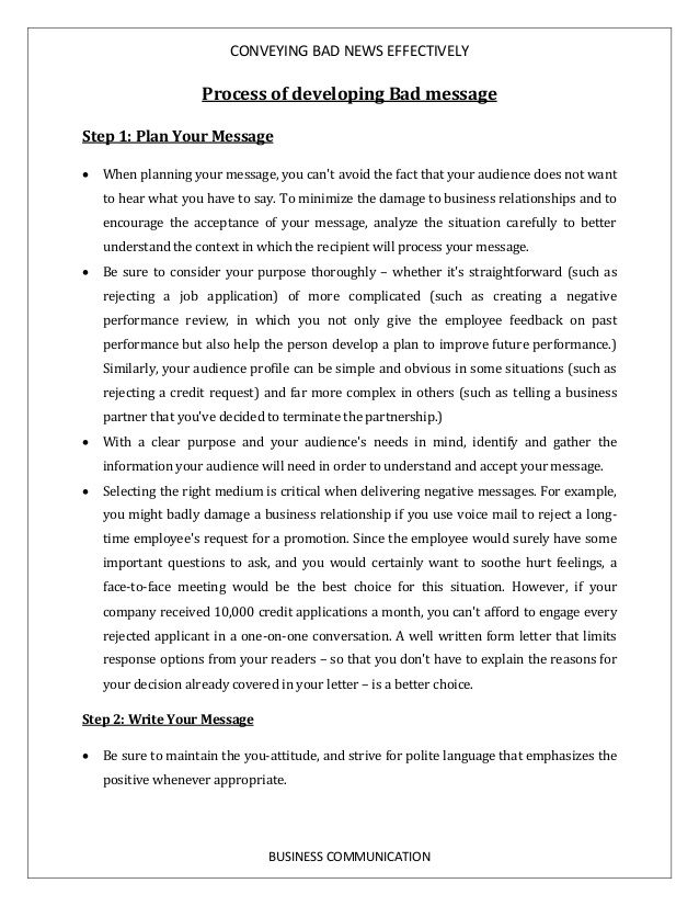 bad news effectively business communication process developing - example of bad resume