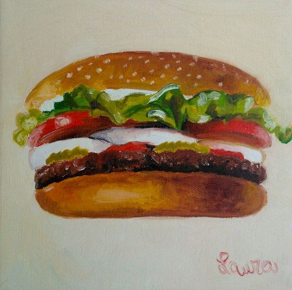 Great Examples For American Kitchen Lovers: Original Oil Painting, Hamburger, American Food Lover