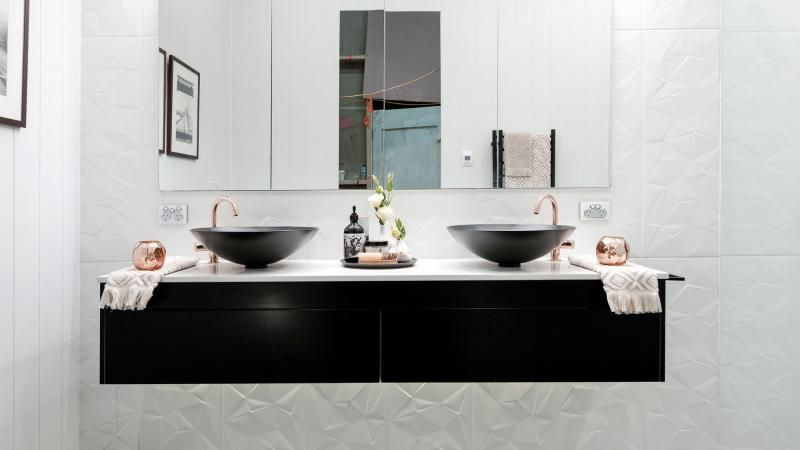 Bathroom Sinks Kijiji the block 2016 master bathroom reveals: karlie and will's master